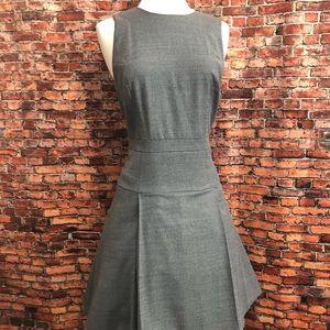 J Crew Lightweights Grey Wool Aline Pleated Dress